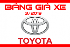 Bảng giá xe Toyota Mới nhất tháng 3/2019