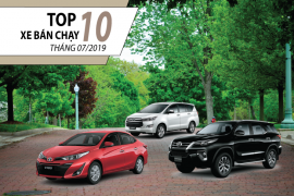 """Top 10 xe bán chạy nhất tháng 07/2019 – Toyota Vios """"ông Hoàng"""" về doanh số"""